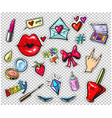 set of fashion stickers pins patches in cartoon vector image