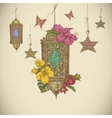Traditional greeting card with arabic lantern vector image