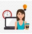 woman laptop clock idea vector image