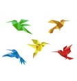 Origami hummingbirds set vector image vector image