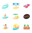 tourism in miami icons set cartoon style vector image