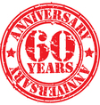 Grunge 60 years anniversary rubber stamp vector image vector image