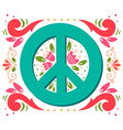 Peace symbol with flowers and decoration elements vector image