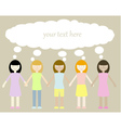 five different girls with thinking bubble vector image