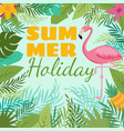 modern summer background with flamingo and vector image