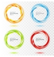 Set of abstract swirl circle on transparent vector image