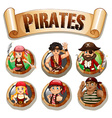 Pirates on round badges vector image vector image