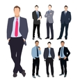 Business man silhouette set vector image