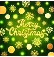 Christmas lettering inscription on green backdrop vector image