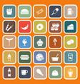 fast food flat icons on orange background vector image