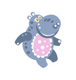 cute cartoon smiling hippo character vector image