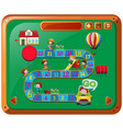 boardgame template with kids playing vector image