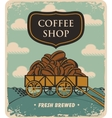 Cart loaded with coffee beans vector image