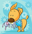 cute dressed dog hold toy in mouth standing on vector image