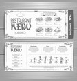hand drawing restaurant menu design vector image