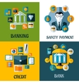 Set of banking and financial flat designs vector image