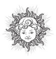 sun with face of cute curly smiling baby boy vector image