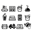 Take away box meal icons set vector image
