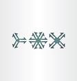three arrows symbol set icons vector image