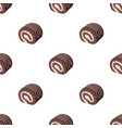 chocolate roulade icon in cartoon style isolated vector image