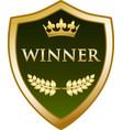 Winner gold shield icon vector image