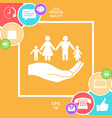 hand holding a symbol of family family protect vector image