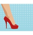 Red fashionable shoes on vector image