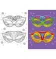 Coloring Book Of Christmas Carnival Masks vector image