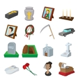Funeral and burial cartoon icons vector image
