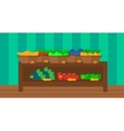 Background of vegetables and fruits on shelves in vector image