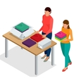 Flat 3d isometric  Workers vector image