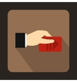Hand with parking ticket icon flat style vector image