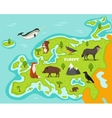 European map with wildlife animals vector image