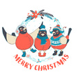 Funny Merry Christmas card with three birds vector image