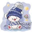 greeting christmas card with polar bear vector image