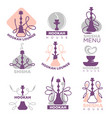 hookah club logo labels set isolated on white vector image