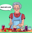 pop art senior woman making jam healthy eating vector image