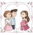smiling couple next to surrogate mother ill vector image