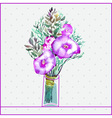 Watercolor painting bunch of flowers in a glass vector image