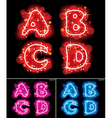 Neon alphabet letters vector image vector image