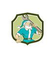 Santa Claus Mechanic Spanner Shield Cartoon vector image vector image