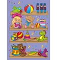 Of Different Toys On Shelves vector image