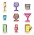 alcohol glasses labels icons vector image