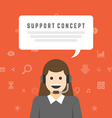 Business woman support service concept and flat vector image