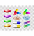 different colors of pills on transparent vector image