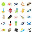 inning icons set isometric style vector image
