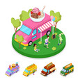 isometric street food ice cream truck with people vector image