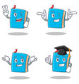 set of blue book character with two finger wink vector image