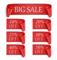 Set of realistic red paper stickers or banners vector image