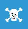 skull and crossbones winks emoji skeleton head vector image